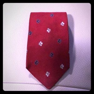 Tommy Hilfiger Red Tie with silver and blue flower